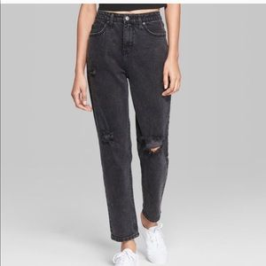 Wild Fable High Rise Black Destructed Mom Jeans